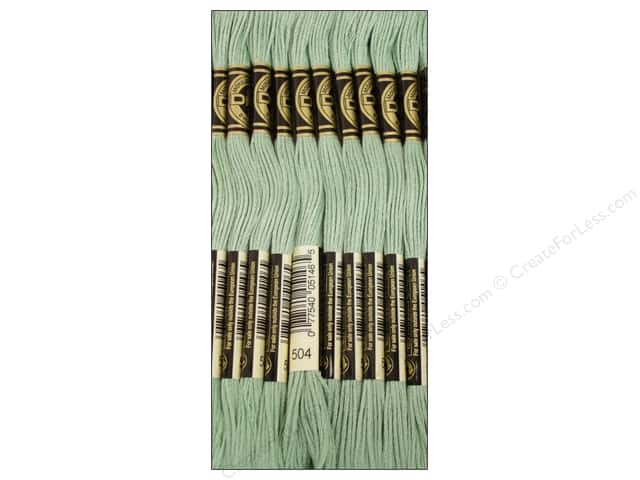 DMC Six-Strand Embroidery Floss #504 Light Blue Green (12 skeins)