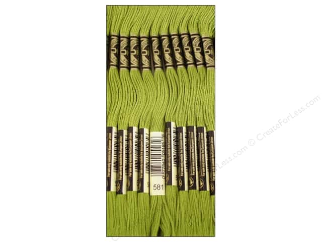 DMC Six-Strand Embroidery Floss #581 Moss Green (12 skeins)