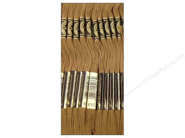 DMC Six-Strand Embroidery Floss #610 Dark Drab Brown (12 skeins)