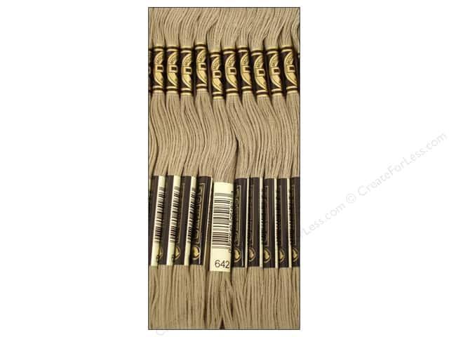 DMC Six-Strand Embroidery Floss #642 Dark Beige Grey (12 skeins)