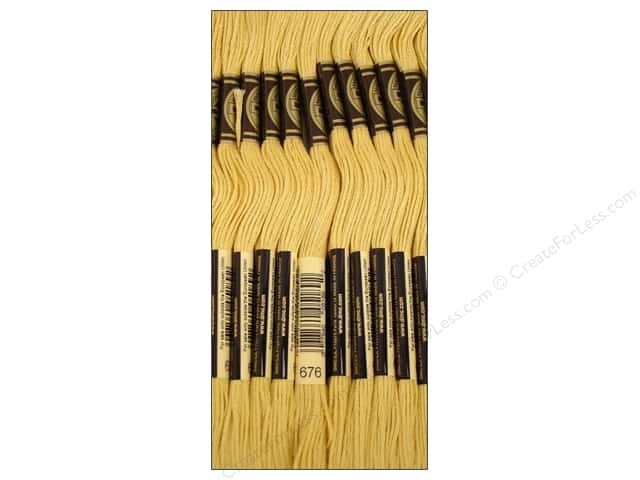DMC Six-Strand Embroidery Floss #676 Light Old Gold (12 skeins)