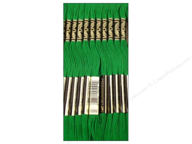DMC Six-Strand Embroidery Floss #699 Christmas Green (12 skeins)