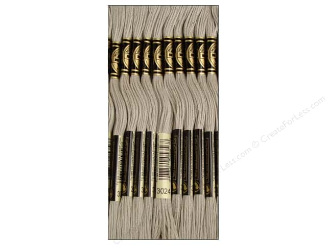 DMC Six-Strand Embroidery Floss #3024 Very Light Brown Grey (12 skeins)