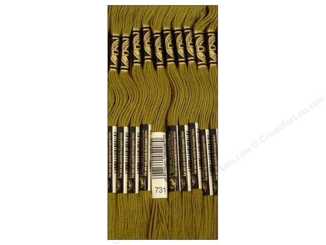 DMC Six-Strand Embroidery Floss #731 Dark Olive Green (12 skeins)