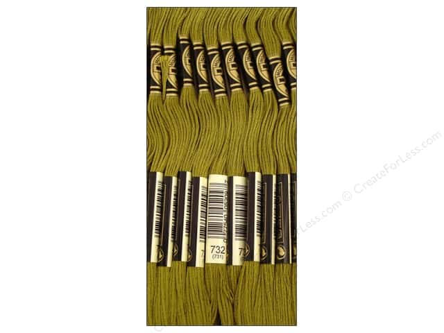 DMC Six-Strand Embroidery Floss #732 Olive Green (12 skeins)
