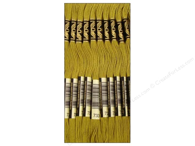 DMC Six-Strand Embroidery Floss #733 Medium Olive Green (12 skeins)