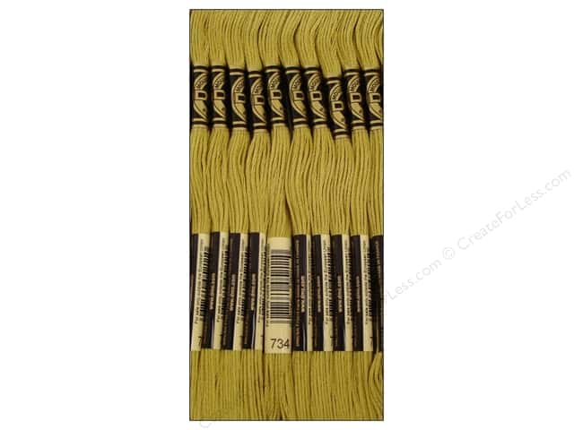 DMC Six-Strand Embroidery Floss #734 Light Olive Green (12 skeins)