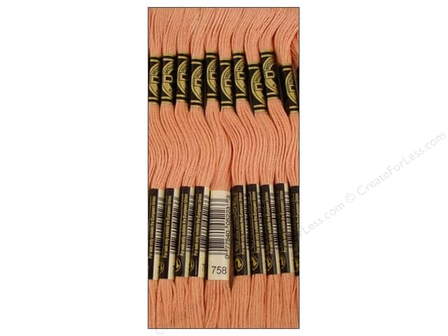 DMC Six-Strand Embroidery Floss #758 Very Light Terra Cotta (12 skeins)