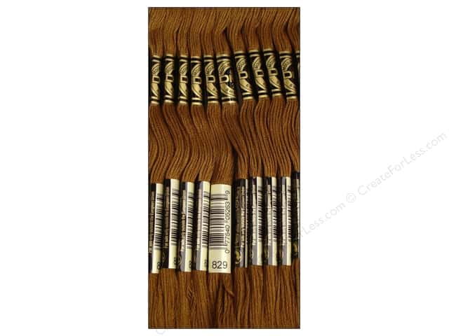 DMC Six-Strand Embroidery Floss #829 Very Dark Golden Olive (12 skeins)