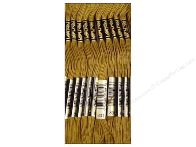 DMC Six-Strand Embroidery Floss #831 Medium Golden Olive (12 skeins)