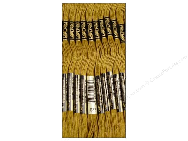 DMC Six-Strand Embroidery Floss #832 Golden Olive (12 skeins)