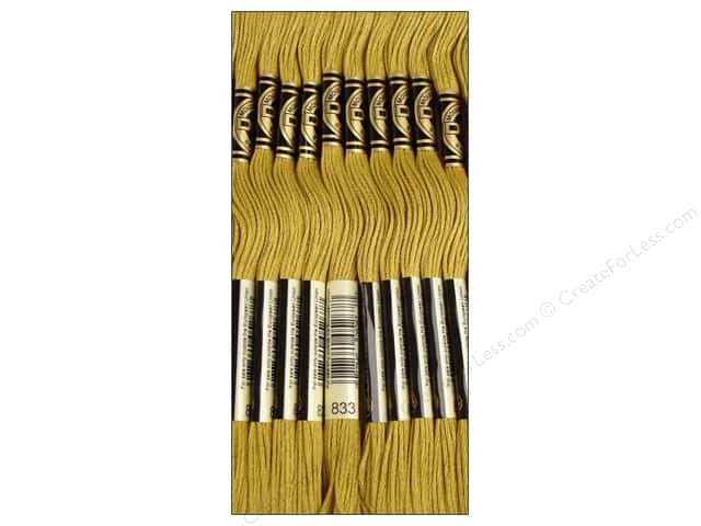 DMC Six-Strand Embroidery Floss #833 Light Golden Olive (12 skeins)