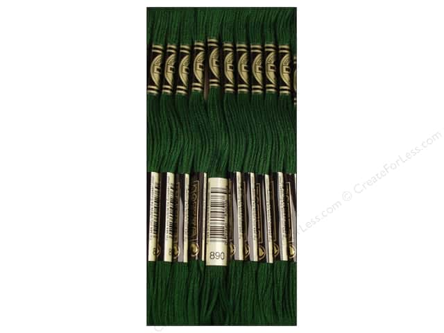 DMC Six-Strand Embroidery Floss #890 Ultra Light Dark Pistachio Green (12 skeins)