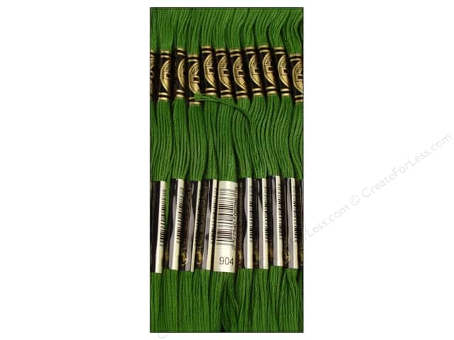 DMC Six-Strand Embroidery Floss #904 Very Dark Parrot Green (12 skeins)