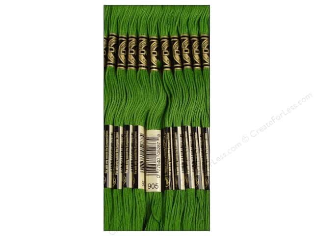 DMC Six-Strand Embroidery Floss #905 Dark Parrot Green (12 skeins)
