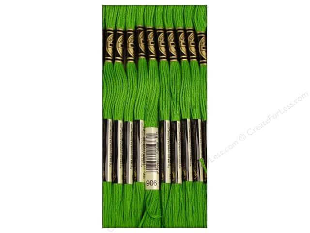 DMC Six-Strand Embroidery Floss #906 Medium Parrot Green (12 skeins)
