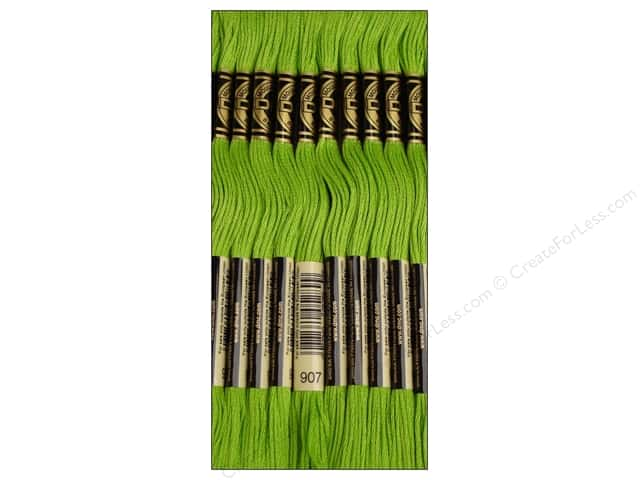 DMC Six-Strand Embroidery Floss #907 Light Parrot Green (12 skeins)