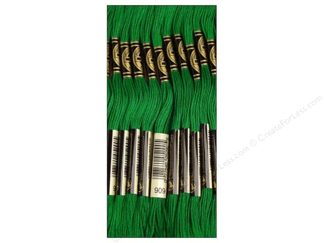 DMC Six-Strand Embroidery Floss #909 Very Dark Emerald Green (12 skeins)