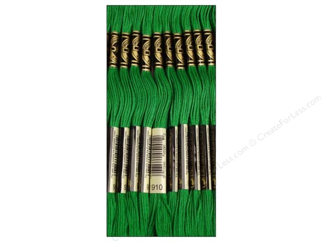 DMC Six-Strand Embroidery Floss #910 Dark Emerald Green (12 skeins)
