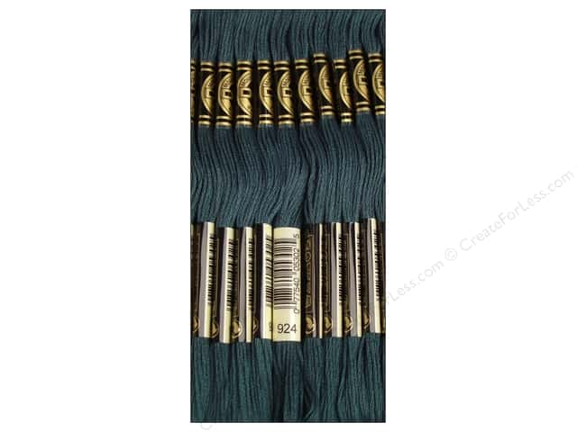 DMC Six-Strand Embroidery Floss #924 Very Dark Grey Green (12 skeins)