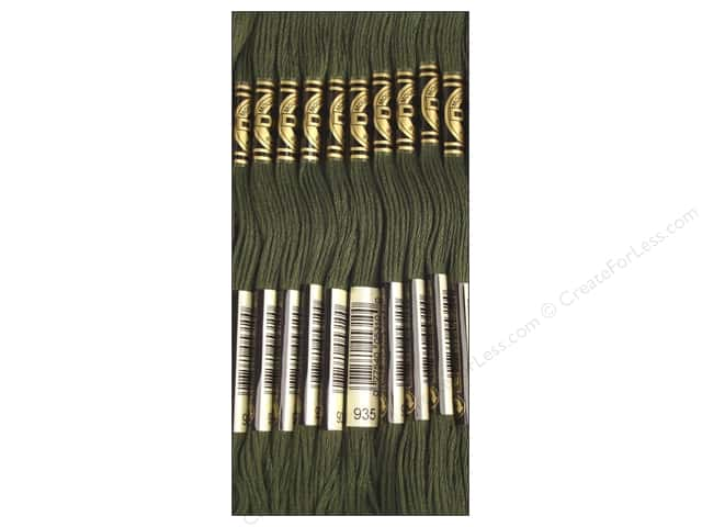 DMC Six-Strand Embroidery Floss #935 Dark Avocado Green (12 skeins)