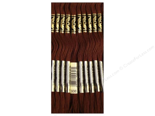 DMC Six-Strand Embroidery Floss #938 Ultra Light Dark Coffee Brown (12 skeins)