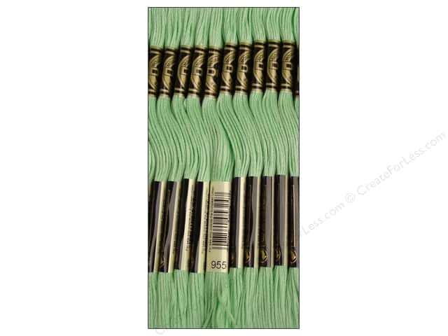 DMC Six-Strand Embroidery Floss #955 Light Nile Green (12 skeins)