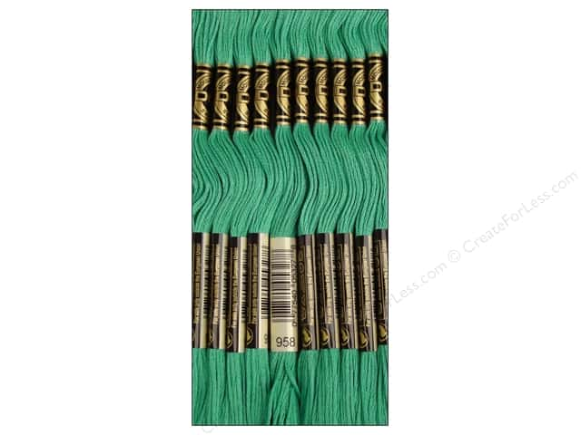 DMC Six-Strand Embroidery Floss #958 Dark Sea Green (12 skeins)