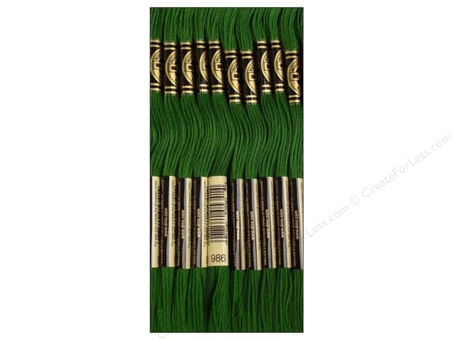 DMC Six-Strand Embroidery Floss #986 Very Dark Forest Green (12 skeins)