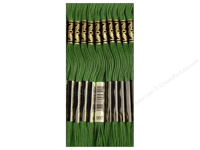 DMC Six-Strand Embroidery Floss #987 Dark Forest Green (12 skeins)