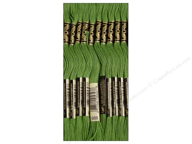DMC Six-Strand Embroidery Floss #988 Medium Forest Green (12 skeins)