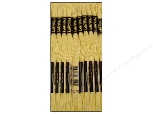 DMC Six-Strand Embroidery Floss #3078 Very Light Golden Yellow (12 skeins)