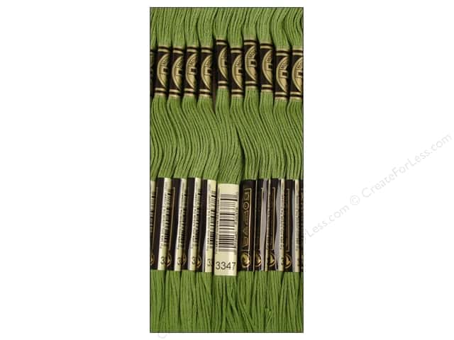 DMC Six-Strand Embroidery Floss #3347 Medium Yellow Green (12 skeins)