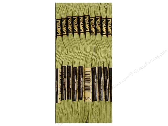 DMC Six-Strand Embroidery Floss #3348 Light Yellow Green (12 skeins)