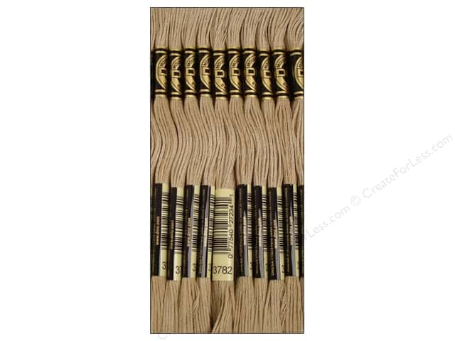 DMC Six-Strand Embroidery Floss #3782 Light Mocha Brown (12 skeins)