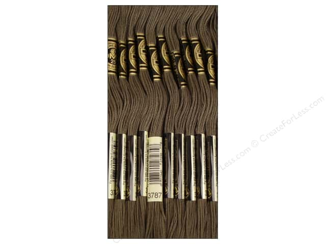 DMC Six-Strand Embroidery Floss #3787 Dark Brown Grey (12 skeins)