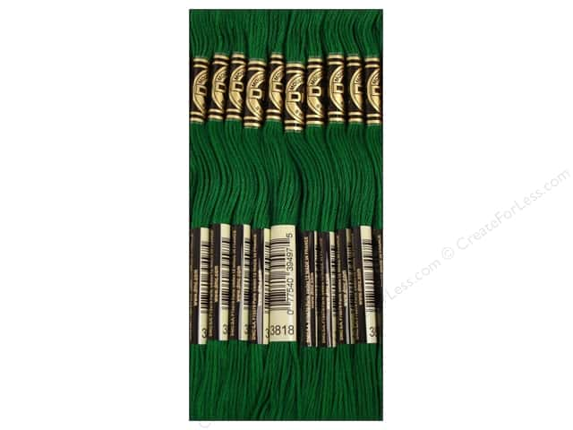DMC Six-Strand Embroidery Floss #3818 Very Dark Emerald Green (12 skeins)