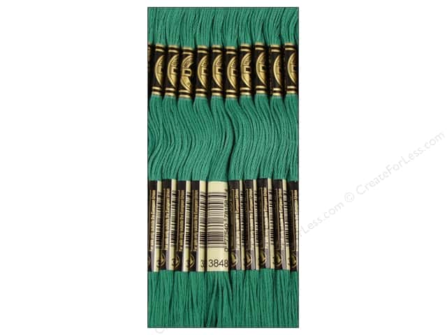 DMC Six-Strand Embroidery Floss #3848 Medium Teal Green (12 skeins)