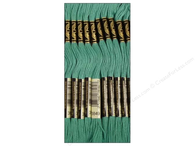 DMC Six-Strand Embroidery Floss #3849 Light Teal Green (12 skeins)