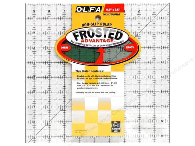 Olfa Frosted Acrylic Ruler 9 1/2 x 9 1/2 in. Square