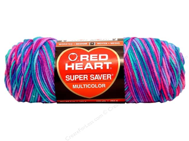 Red Heart Super Saver Yarn #0784 Bonbon Print 244 yd.