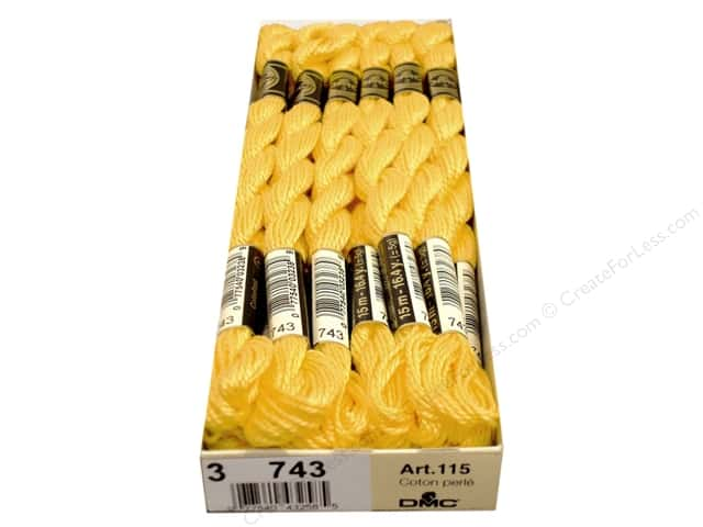 DMC Pearl Cotton Skein Size 3 #743 Medium Yellow (12 skeins)
