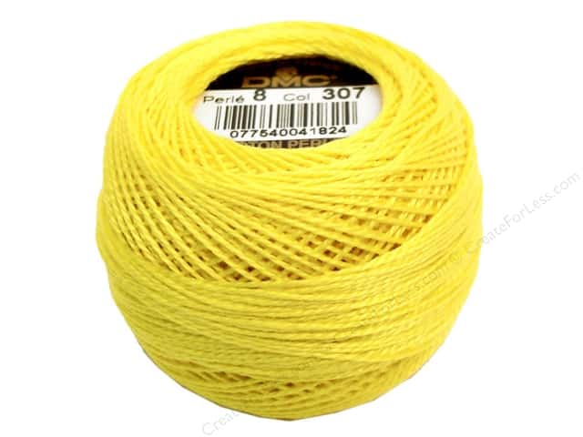 DMC Pearl Cotton Ball Size 8 #307 Lemon (10 balls)