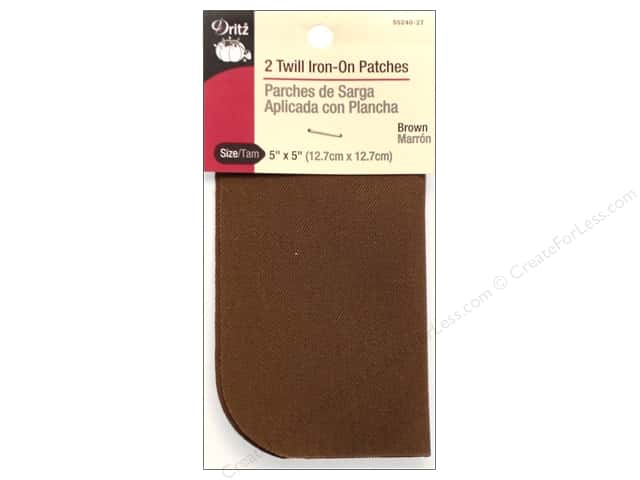Twill Iron On Patches by Dritz 2 pc. Brown 5 x 5 in.
