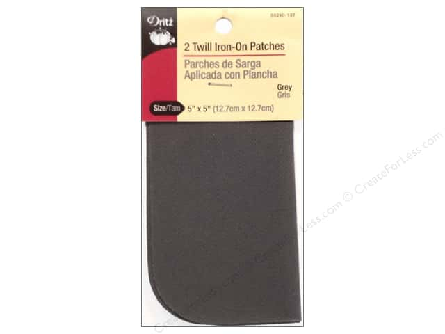 Twill Iron On Patches by Dritz 2 pc. Grey 5 x 5 in.