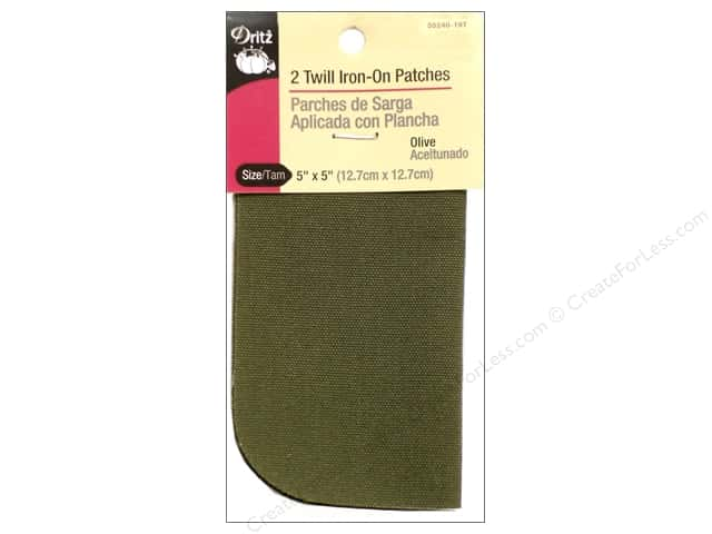 Dritz Twill Iron-On Patches - 5 x 5 in. Olive 2 pc.