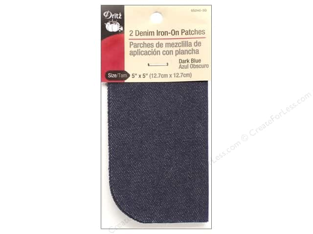 Denim Iron On Patches by Dritz 2 pc. Dark Blue 5 x 5 in.