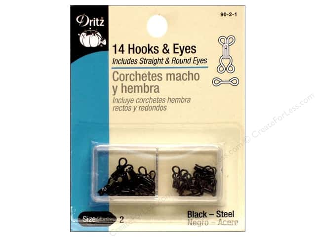 Hooks and Eyes by Dritz Size 2 Black 14pc.