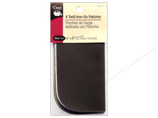 Twill Iron On Patches by Dritz 4 pc. Light Assorted 5 x 5 in.
