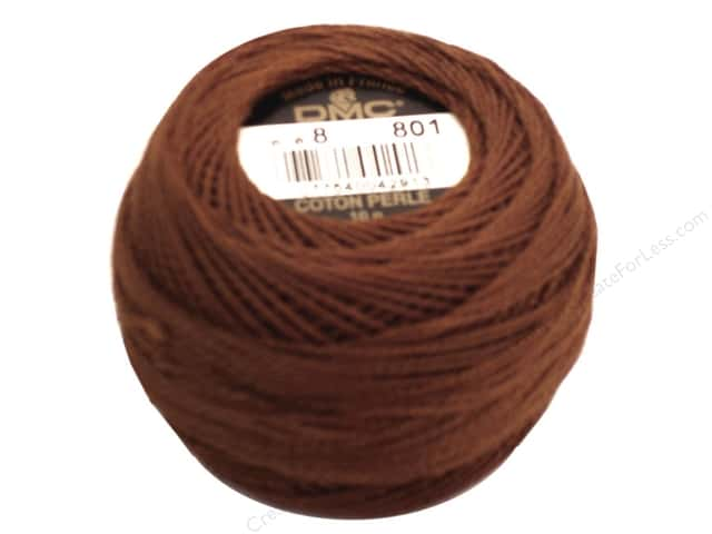 DMC Pearl Cotton Ball Size 8 #801 Dark Coffee Brown (10 balls)